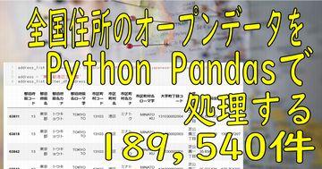 全国の町丁目レベル(189,540件)の住所データのオープンデータをPython Pandasで処理してみた
